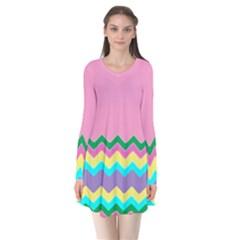 Easter Chevron Pattern Stripes Flare Dress by Amaryn4rt