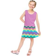 Easter Chevron Pattern Stripes Kids  Tunic Dress by Amaryn4rt