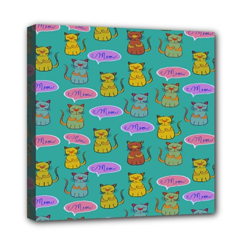 Meow Cat Pattern Mini Canvas 8  X 8  by Amaryn4rt