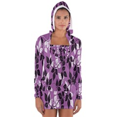 Floral Pattern Background Women s Long Sleeve Hooded T-shirt by Amaryn4rt