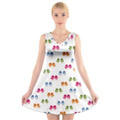 Pattern Birds Cute Design Nature V Neck Sleeveless Skater Dress