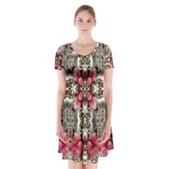 Flowers Fabric Short Sleeve V Neck Flare Dress by Amaryn4rt