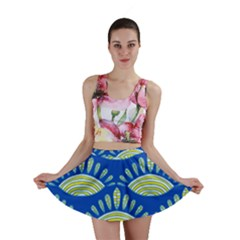 Sea Shells Blue Yellow Mini Skirt by Alisyart