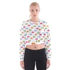Pattern Birds Cute Design Nature Women s Cropped Sweatshirt