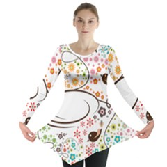 Flower Floral Rose Sunflower Bird Back Color Orange Purple Yellow Red Long Sleeve Tunic  by Alisyart