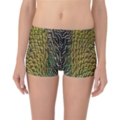 Colorful Iridescent Feather Bird Color Peacock Boyleg Bikini Bottoms