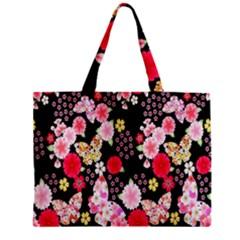 Flower Arrangements Season Rose Butterfly Floral Pink Red Yellow Zipper Mini Tote Bag by Alisyart