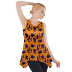 Witch Hat Pumpkin Candy Helloween Blue Orange Side Drop Tank Tunic by Alisyart