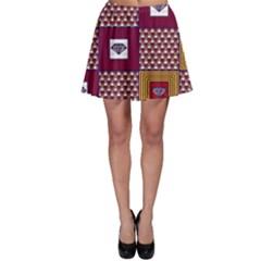 African Fabric Diamon Chevron Yellow Pink Purple Plaid Skater Skirt by Alisyart