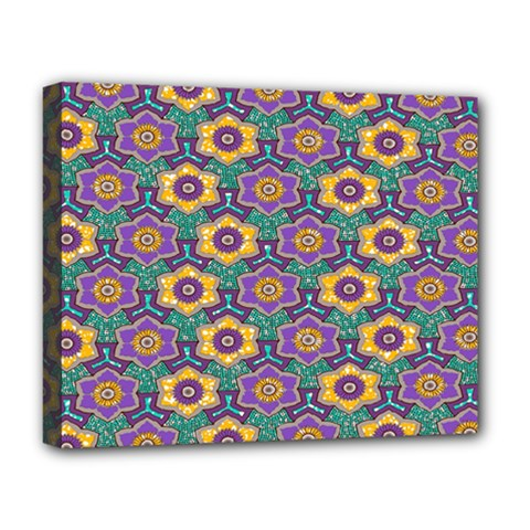 African Fabric Flower Green Purple Deluxe Canvas 20  X 16   by Alisyart