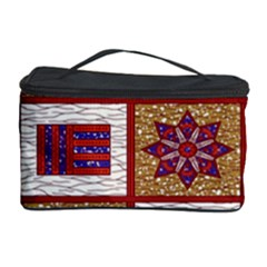 African Fabric Star Plaid Gold Blue Red Cosmetic Storage Case by Alisyart