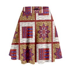 African Fabric Star Plaid Gold Blue Red High Waist Skirt by Alisyart