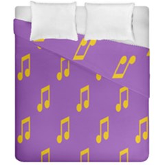 Eighth Note Music Tone Yellow Purple Duvet Cover Double Side (california King Size) by Alisyart