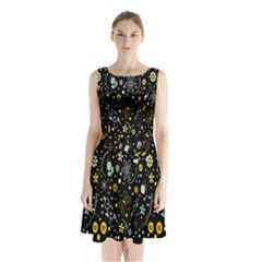 Floral And Butterfly Black Spring Sleeveless Chiffon Waist Tie Dress by Alisyart