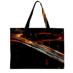 Highway Night Lighthouse Car Fast Zipper Large Tote Bag by Amaryn4rt