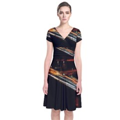 Highway Night Lighthouse Car Fast Short Sleeve Front Wrap Dress by Amaryn4rt