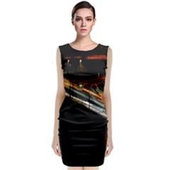 Highway Night Lighthouse Car Fast Sleeveless Velvet Midi Dress by Amaryn4rt