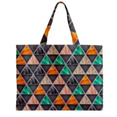 Abstract Geometric Triangle Shape Zipper Mini Tote Bag