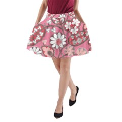 Flower Floral Red Blush Pink A Line Pocket Skirt by Alisyart