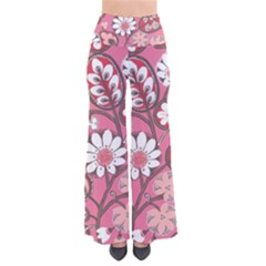 Flower Floral Red Blush Pink Pants by Alisyart