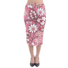 Flower Floral Red Blush Pink Midi Pencil Skirt by Alisyart