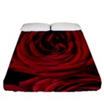 Roses Flowers Red Forest Bloom Fitted Sheet (Queen Size)