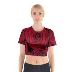 Roses Flowers Red Forest Bloom Cotton Crop Top by Amaryn4rt