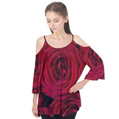 Roses Flowers Red Forest Bloom Flutter Tees by Amaryn4rt