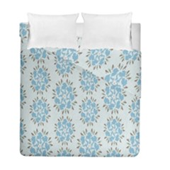 Flower Floral Rose Bird Animals Blue Grey Study Duvet Cover Double Side (full/ Double Size) by Alisyart