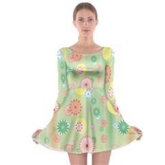Flower Arrangements Season Pink Yellow Red Rose Sunflower Long Sleeve Skater Dress
