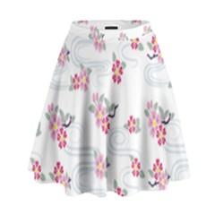 Flower Arrangements Season Sunflower Pink Red Waves Grey High Waist Skirt by Alisyart