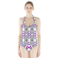 Floral Ornament Baby Girl Design Halter Swimsuit