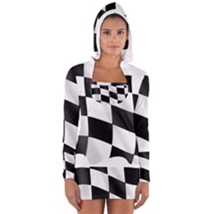Flag Chess Corse Race Auto Road Women s Long Sleeve Hooded T Shirt