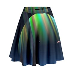 Planets In Space Stars High Waist Skirt by Amaryn4rt