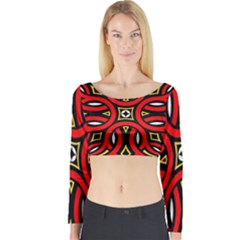 Traditional Art Pattern Long Sleeve Crop Top