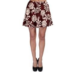Flower Leaf Pink Brown Floral Skater Skirt by Alisyart