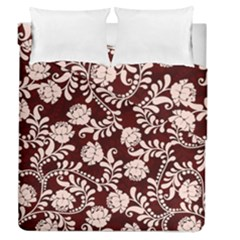 Flower Leaf Pink Brown Floral Duvet Cover Double Side (queen Size) by Alisyart