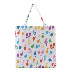 Notes Tone Music Purple Orange Yellow Pink Blue Grocery Tote Bag by Alisyart