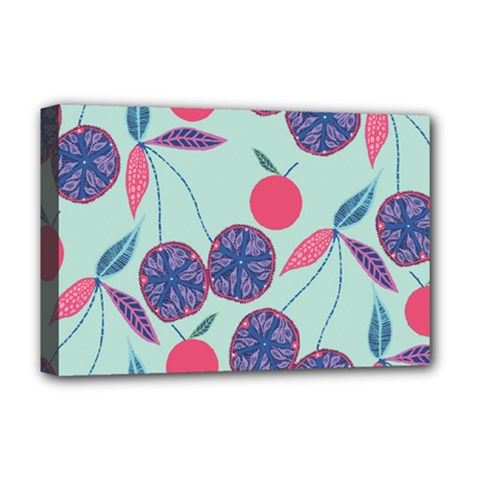 Passion Fruit Pink Purple Cerry Blue Leaf Deluxe Canvas 18  X 12   by Alisyart