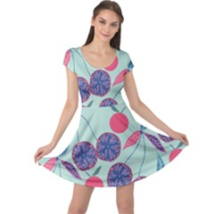 Passion Fruit Pink Purple Cerry Blue Leaf Cap Sleeve Dresses by Alisyart
