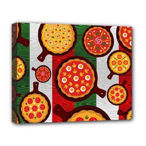 Pizza Italia Beef Flag Deluxe Canvas 20  x 16   by Alisyart