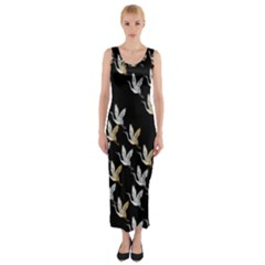 Goose Swan Gold White Black Fly Fitted Maxi Dress by Alisyart