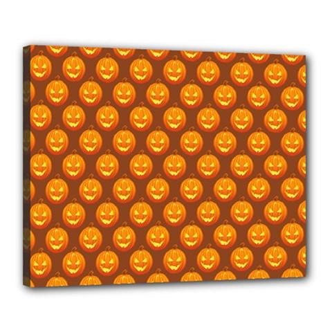Pumpkin Face Mask Sinister Helloween Orange Canvas 20  X 16  by Alisyart