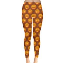 Pumpkin Face Mask Sinister Helloween Orange Leggings  by Alisyart