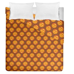 Pumpkin Face Mask Sinister Helloween Orange Duvet Cover Double Side (queen Size) by Alisyart