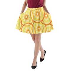 Lemons Orange Lime Circle Star Yellow A Line Pocket Skirt by Alisyart