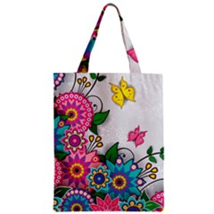 Flowers Pattern Vector Art Zipper Classic Tote Bag by Amaryn4rt