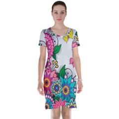 Flowers Pattern Vector Art Short Sleeve Nightdress by Amaryn4rt