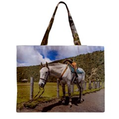 White Horse Tied Up At Cotopaxi National Park Ecuador Medium Zipper Tote Bag by dflcprints