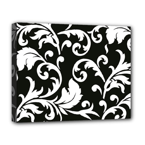 Vector Classical Traditional Black And White Floral Patterns Deluxe Canvas 20  X 16   by Amaryn4rt